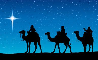 Three Wise kings following Star of Bethlehem. Vector illustration