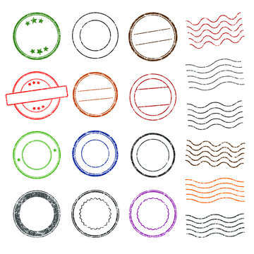 Ink color Stamps Round frames vector icon set. Stamp grunge textured ink rubber labels. Isolated on white background.  Scratched lines stamp logo shape symbol.