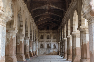 Wall Murals Place of worship The pillars, arches and architectural detail inside a hall in the Raja Mahal, the palace of the Bundela Rajputs.
