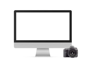 Computer and DSLR photo camera graphics element