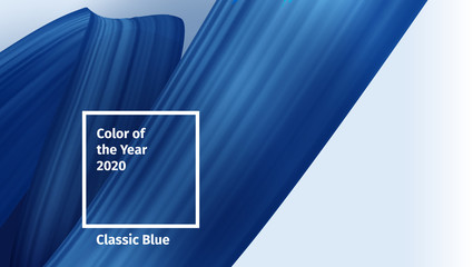 Color of the year 2020 horizontal vector concept for advertising, blog posts and social media cover. Classic Blue Color brush paint. Blue Realistic 3d render brush strokes. Abstract Vector ribbon