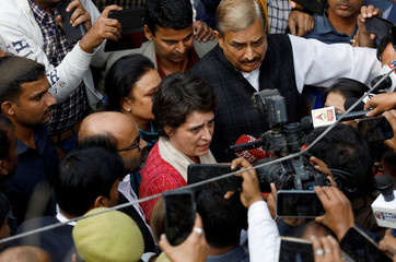 Priyanka Gandhi Vadra speaks with the media after she met the relatives of a 23-year-old rape victim, who died in a New Delhi hospital on Friday after she was set on fire by a gang of men, which included her alleged rapists, in Unnao