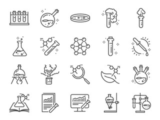 Chemistry lab icon set. Included icons as Chemical, formula, Medical analysis, Laboratory test flask, experiment and more. Fototapete