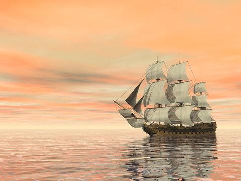 Old merchant ship on the ocean - 3D render