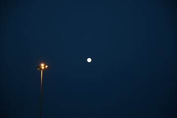 Fototapeta Night Sky With Moon and Lamp obraz
