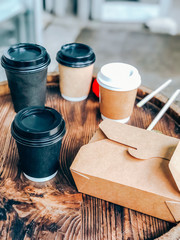 Coffee cups and street food craft paper container