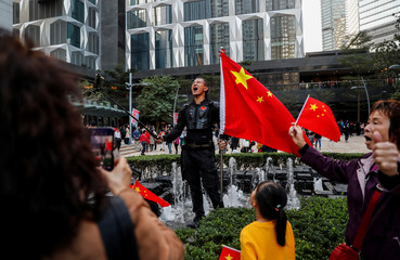 Pro-Beijing supporters rally in Hong Kong