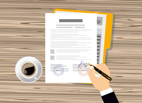 Contract agreement flat business illustration vector