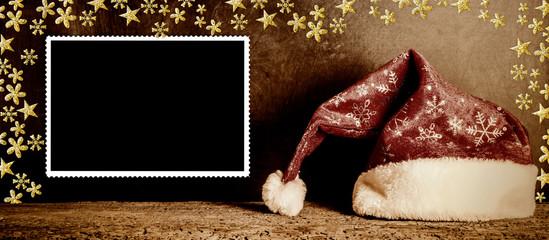 Christmas picture frame  Santa hat vintage