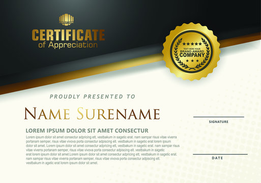 Certificate template with luxurious black and golden and colorful line ornament textured background, diploma, Vector illustration