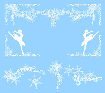 winter holidays decorative frame with snow and dancing ballerina girls - white vector silhouette design set