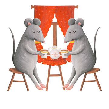 Tea drinking of mice, cute cozy gouache illustration on a white background. Two mice drink tea at home by the window. Great print, postcard, cover, poster.Christmas 2020 year of the rat