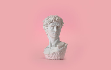 Statue bust on pink background