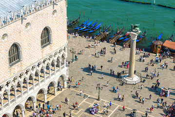 Fototapete - San Marco or St Mark`s Square in summer, Venice, Italy. Doge`s Palace and embankment.