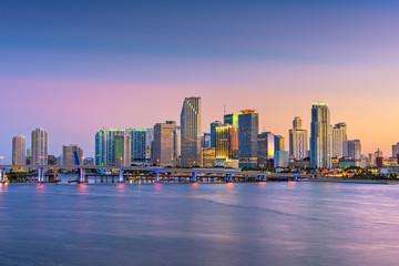 Fototapete - Miami, Florida, USA skyline on Bisayne Bay