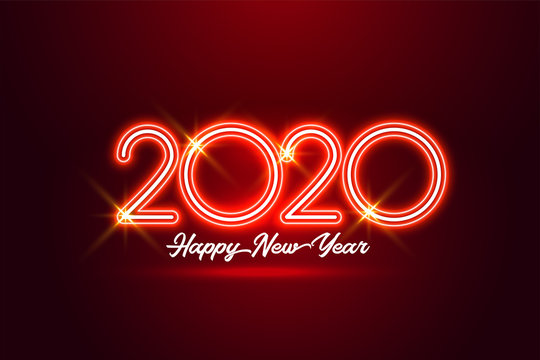 happy new year 2020 red neon style background