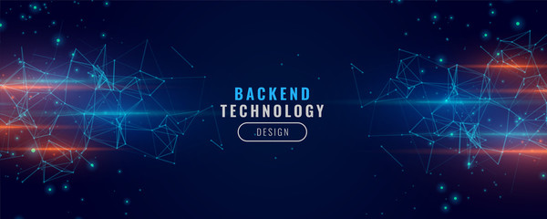 digital backend technology concept particle background design Fototapete