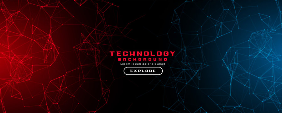 abstract technology background with red and blue lights