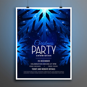 christmas party blue snowflakes flyer template design
