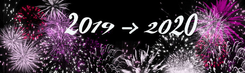 fireworks at turn of the year, banner, header
