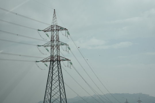 Powerlines by Morning with Gray Sky