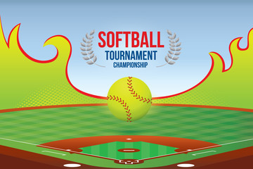 Vector of softball championship design with field background.