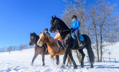 Gemeinsamer Ausritt im winterlichen Allgäu