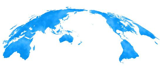 Fototapeta 水彩風、世界地図、青 obraz