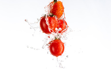 Printed roller blinds Splashing water four cocktail tomatoes with spray of water hang