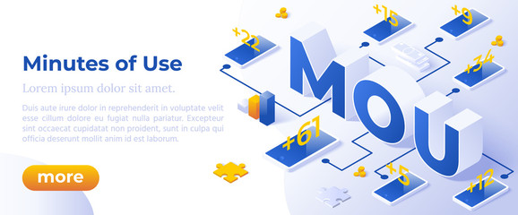 MoU - Minutes of Use. Isometric Concept in Trendy Colors. Telecommunication Management Segment Metaphor. Banner Layout Template for Website and Mobile Website Development. Easy to Edit and Customize.