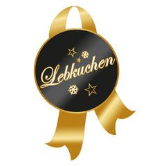 Lebkuchen, schwarz goldenes Etikett mit goldener Banderole