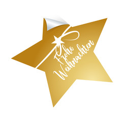 Frohe Weihnachten, Goldener Stern mit Schliefe und Handschrift