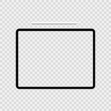 Realistic 11 inch Scalable tablet Drawing Pad with smart pencil stylus. Transparent Screen Isolated. Front and Back Display View. High Detailed Device Mockup. Easily Editable vector