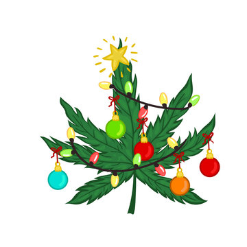 Christmas marijuana decorated with Christmas toys isolated on white background. Vector graphics.