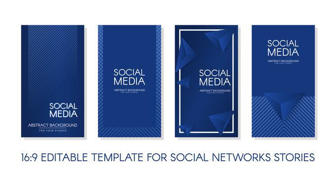 Editable Stories vector template pack 16:9. Classic blue design backgrounds for social media. Banner background, website, mobile app, poster, flyer, coupon, gift card, smartphone template, web design