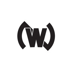letter nw simple geometric linked logo vector