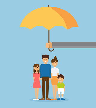 health insurance and life insurance policy concept, vector illustration