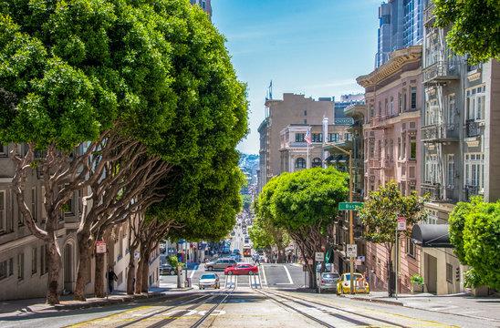 Tramway in San Francisco street California United States