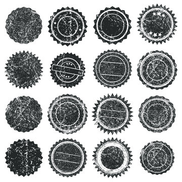 Black Ink color empty Stamps Round frames vector icon set. Stamp grunge textured ink rubber labels. Isolated on white background.  Scratched stamp logo shape symbol.