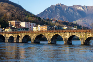 Town of Lecco, Italy in December time