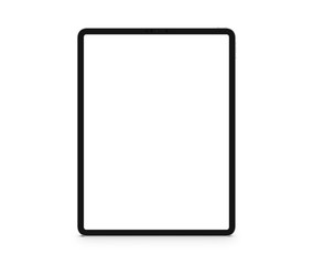 Premium tablet in trendy thin frame design. green screen. Isolated white background - image