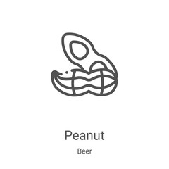 peanut icon vector from beer collection. Thin line peanut outline icon vector illustration. Linear symbol for use on web and mobile apps, logo, print media