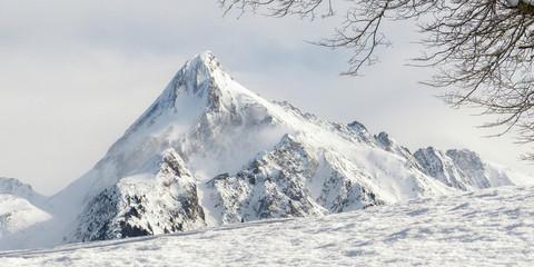Fototapete - Blick zu einem schneebedeckten Berg im Zillertal in Tirol als Panorama- und Hintergrundbild