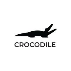 Crocodile logo template logotype white isolated background