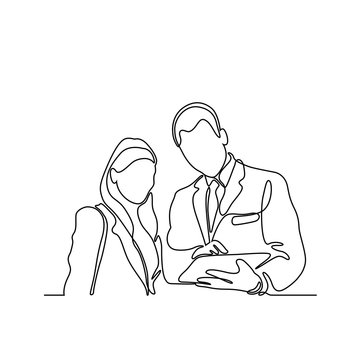 continuous line drawing of business man and business woman discussion vector illustration