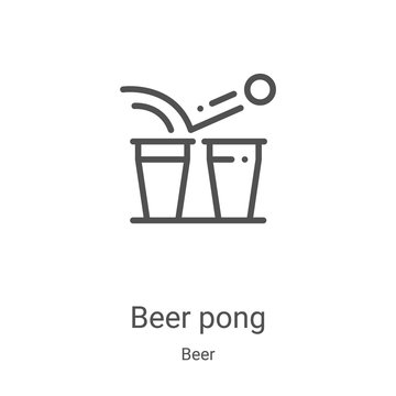 beer pong icon vector from beer collection. Thin line beer pong outline icon vector illustration. Linear symbol for use on web and mobile apps, logo, print media