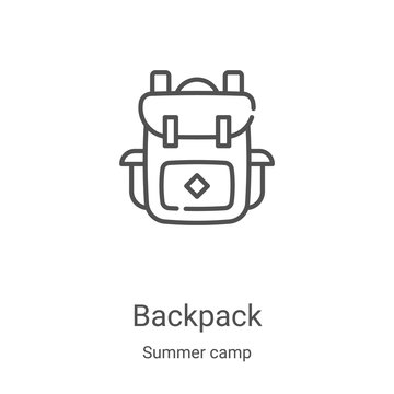 backpack icon vector from summer camp collection. Thin line backpack outline icon vector illustration. Linear symbol for use on web and mobile apps, logo, print media