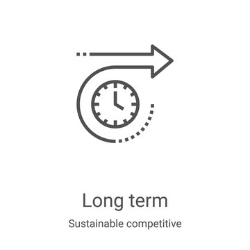 long term icon vector from sustainable competitive advantage collection. Thin line long term outline icon vector illustration. Linear symbol for use on web and mobile apps, logo, print media