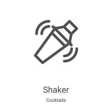 shaker icon vector from cocktails collection. Thin line shaker outline icon vector illustration. Linear symbol for use on web and mobile apps, logo, print media