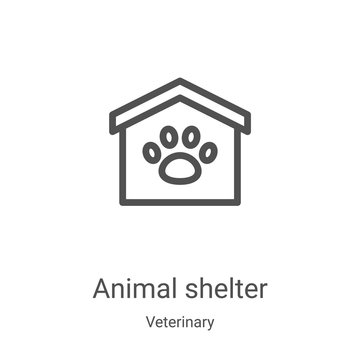 animal shelter icon vector from veterinary collection. Thin line animal shelter outline icon vector illustration. Linear symbol for use on web and mobile apps, logo, print media